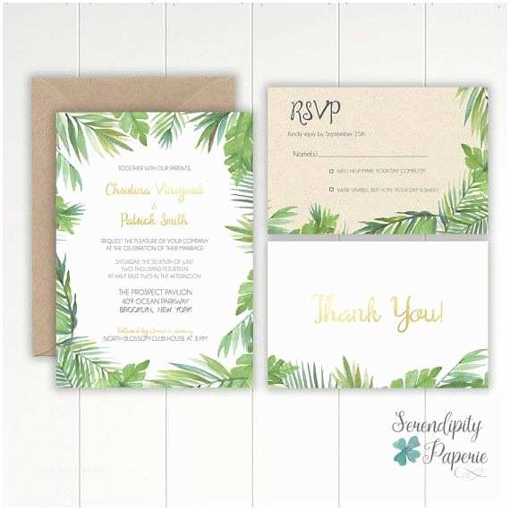 Leaf Wedding Invitations Tropical Watercolor Palm Leaf Wedding Invitation