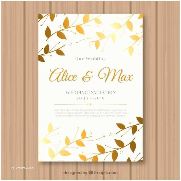 Leaf Wedding Invitations Wedding Invitation with Golden Leaves Vector