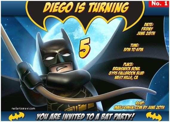 Lego Batman Party Invitations Batman Lego Invitation and or Thank You Card when by