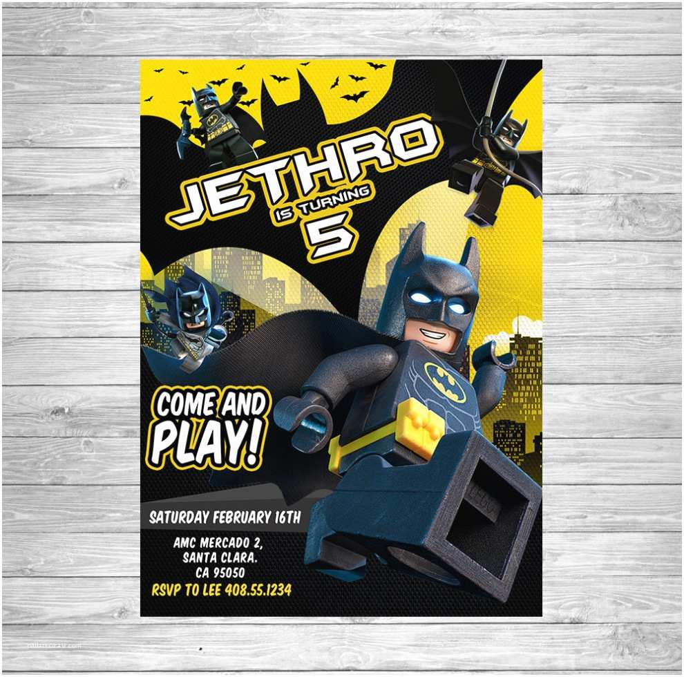 Lego Batman Party Invitations Birthday Lego Birthday Invitation