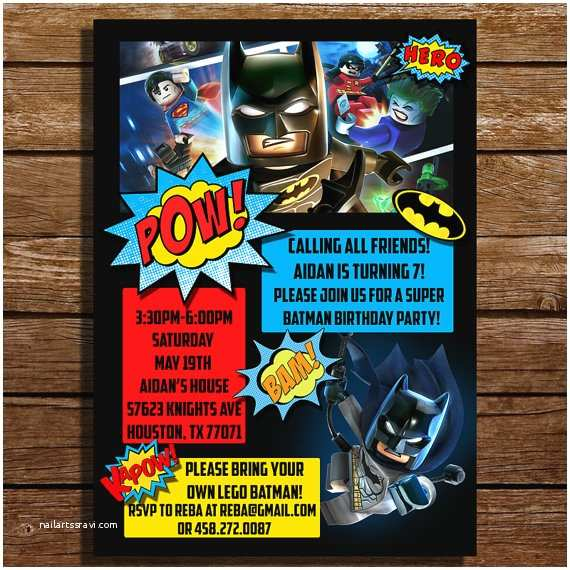Lego Batman Party Invitations Lego Batman Birthday Invitation Lego Batman by Coralpartydecor
