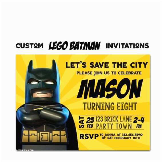 Lego Batman Party Invitations Lego Batman Birthday Invitation Lego Movie Party