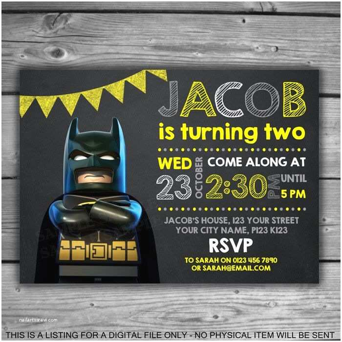 Lego Batman Party Invitations Lego Batman Chalkboard Invitation Printable Digital