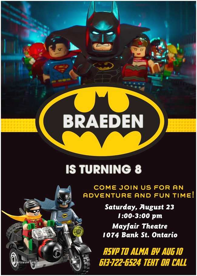 Lego Batman Party Invitations Lego Batman Movie Custom Birthday Invitation