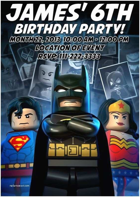 Lego Batman Party Invitations Lego Batman Superman and Wonder Woman Kids Birthday Party