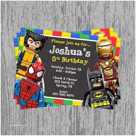 Lego Batman Party Invitations Superhero Birthday Invitations Free