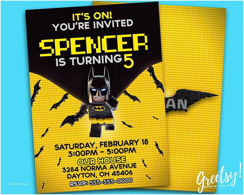 Lego Batman Party Invitations the Lego Batman Invitation the Lego Batman Birthday the Lego