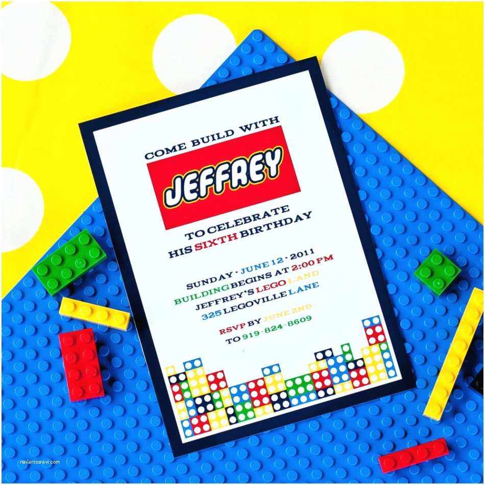 Lego Birthday Invitations Modern Building Brick Party Printable Invitation
