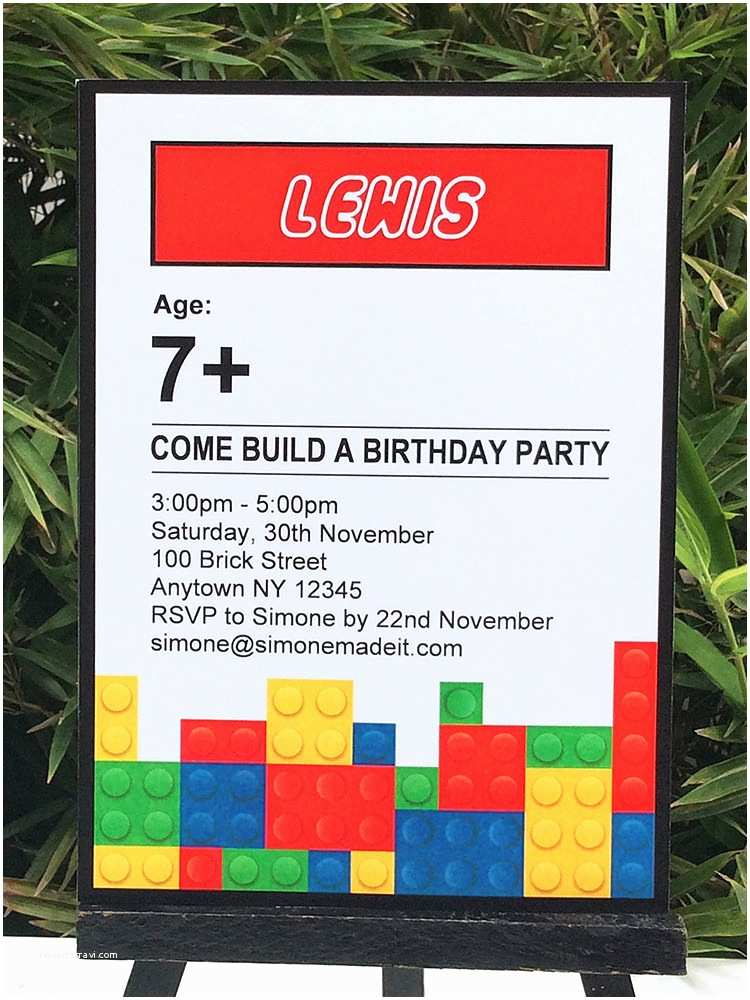 Lego Birthday Party Invitations Lego Birthday Party Printables