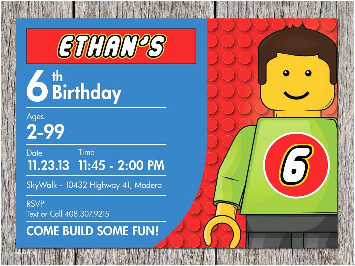 Lego Party Invitations Building Blocks Birthday Party Invitation Lego by