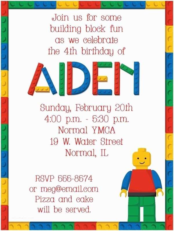 Lego Party Invitations Building Blocks Birthday Party Invitations by