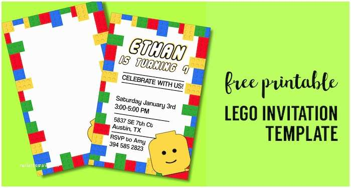 Lego Party Invitations Free Printable Lego Birthday Party Invitation Template