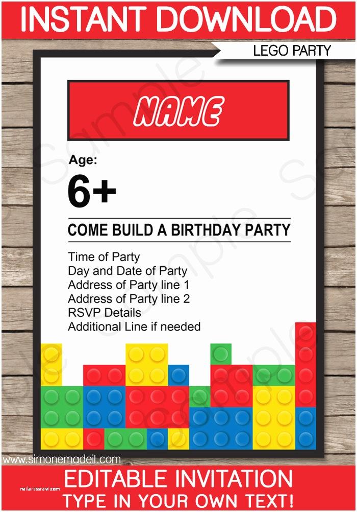 Lego Party Invitations Lego Party Invitations Lego Invitations