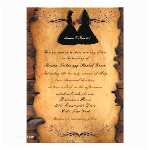 Lesbian Wedding Invitation Wording Cowgirl Brides Custom Lesbian Wedding Invitations