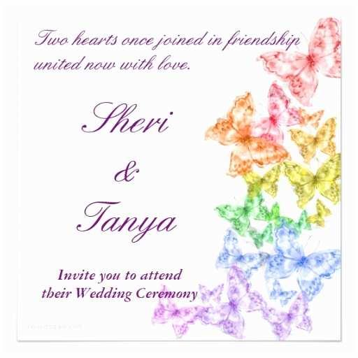Lesbian Wedding Invitation Wording Gay Lesbian Rainbow Wedding Ceremony Invitation