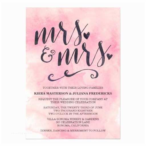Lesbian Wedding Invitation Wording Mrs & Mrs Lesbian Wedding Invitation