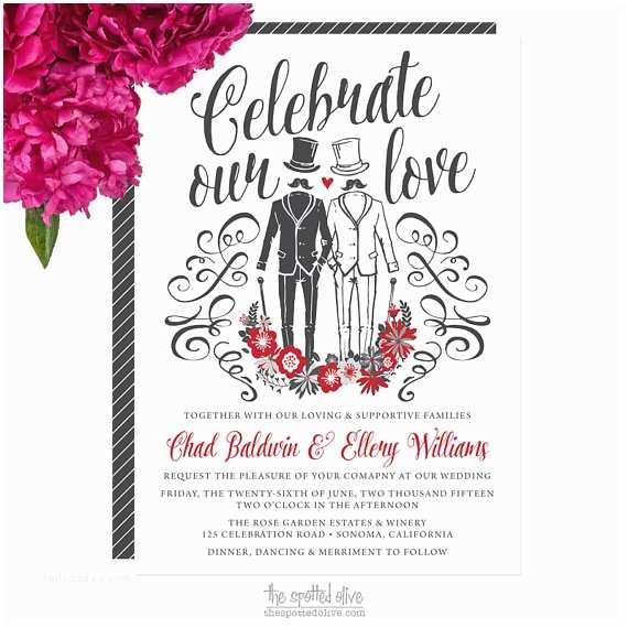 Lesbian Wedding Invitation Wording Same Gay Wedding Invitations Diy Printable or Printed