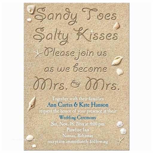 Lesbian Wedding Invitation Wording Same Lesbian Wedding Invitation Beach Sandy toes