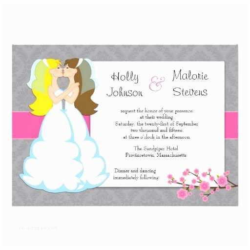 "Lesbian Wedding Invitations Cherry Blossom Lesbian Wedding Invitation 5"" X 7"