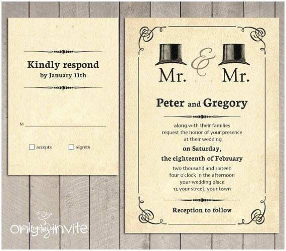 Lesbian Wedding Invitations Mr and Mr Gay Wedding Invitation Printable