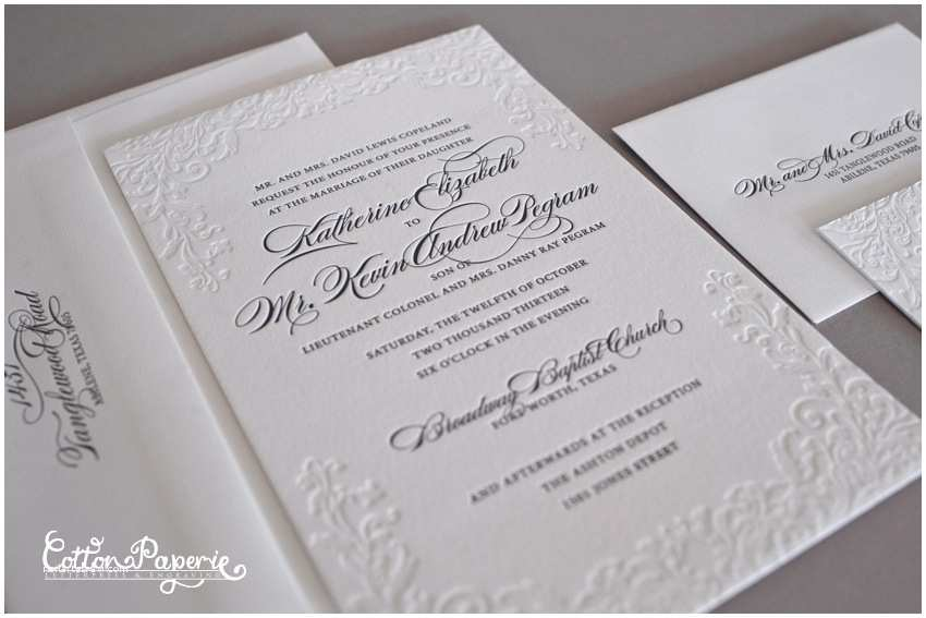 Letterpress Wedding Invitations Blog Blind Deboss Wedding Invitation Suite