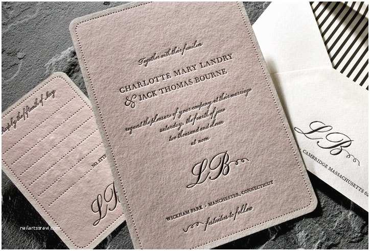 Letterpress Wedding Invitations Light Pink and Black Romantic Letterpress Wedding