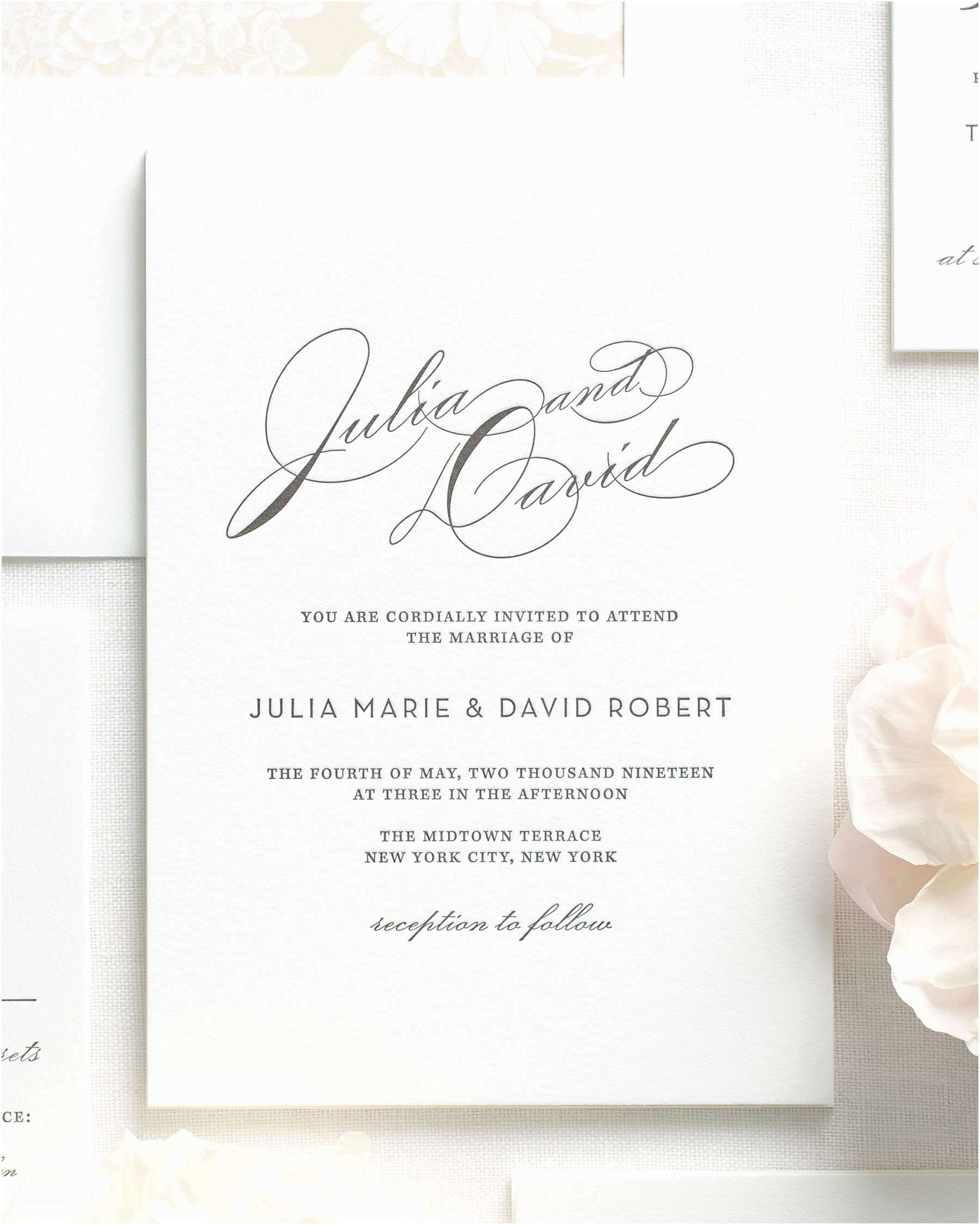 Letterpress Wedding Invitations Vintage Glam Letterpress Wedding Invitations Letterpress