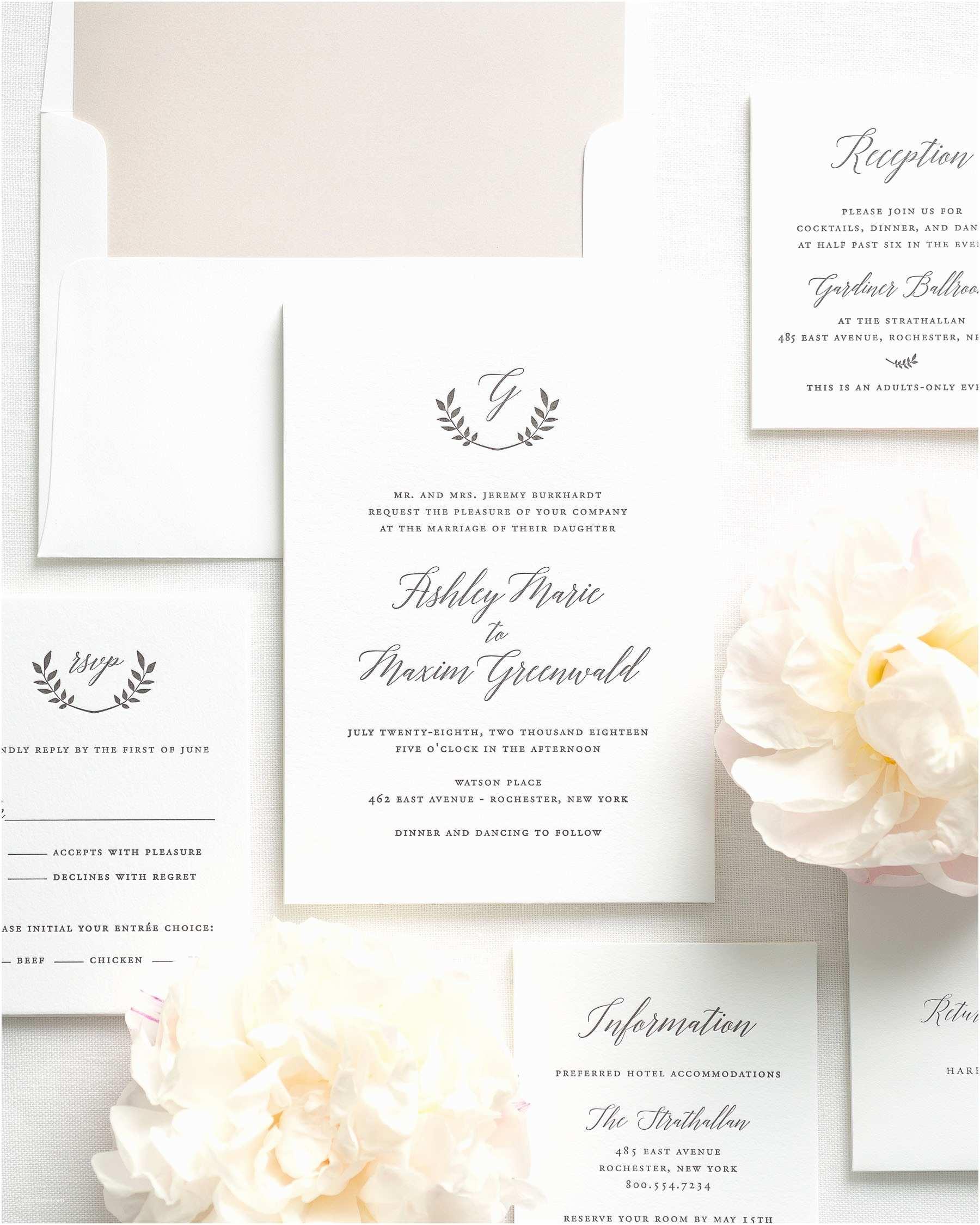 Letterpress Wedding Invitations Wreath Monogram Letterpress Wedding Invitations
