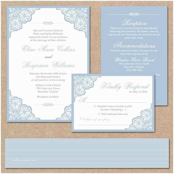 Light Blue Wedding Invitations Elegant Lace Wedding Invitation Suite Square Invitation