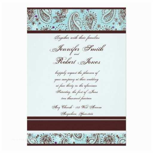 "Light Blue Wedding Invitations Light Blue and Brown Paisley Wedding Invitation 5"" X 7"