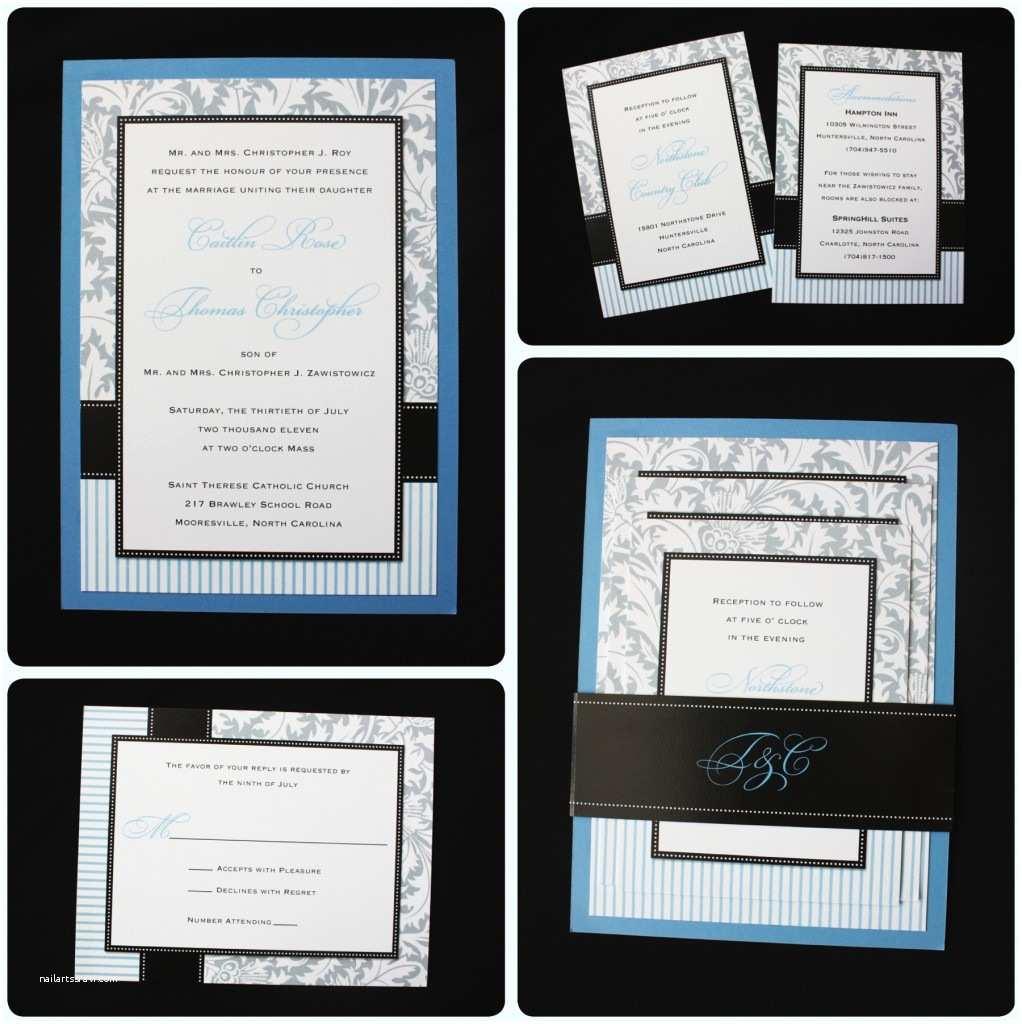 Light Blue Wedding Invitations Light Blue Gray & Black Damask Stripe & Dot Belly
