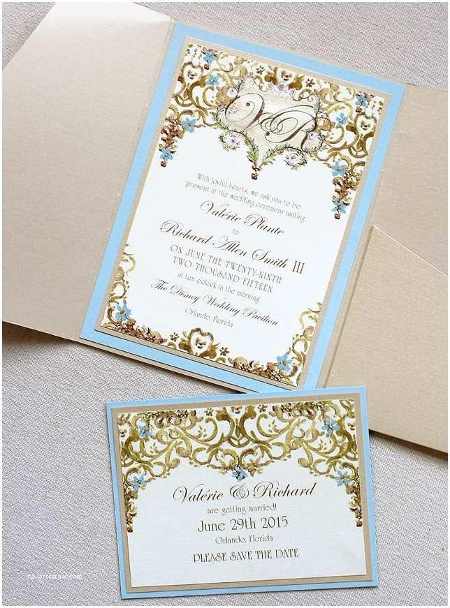 Light Blue Wedding Invitations Valerie P Light Blue and Gold Framed Monogram Wedding