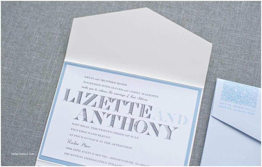 Light Blue Wedding Invitations Vintage Wedding Invitation Light Blue Pocket Invitation