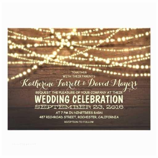 Light In the Box Wedding Invitations Barn Wood String Lights Rustic Wedding Invitations