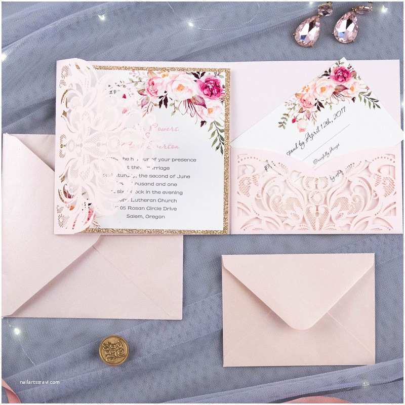 Light In the Box Wedding Invitations Bohemian Floral Glittery Laser Cut Wedding Invitation
