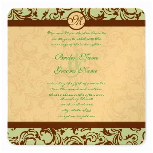 Light In the Box Wedding Invitations Brown Damask Light Aqua Blue Wedding Invitation 5 25