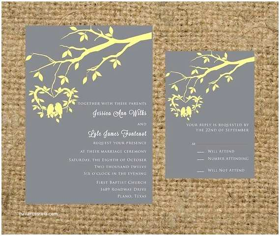 Light In the Box Wedding Invitations Gray and Light Yellow Hanging Love Birds Wedding by