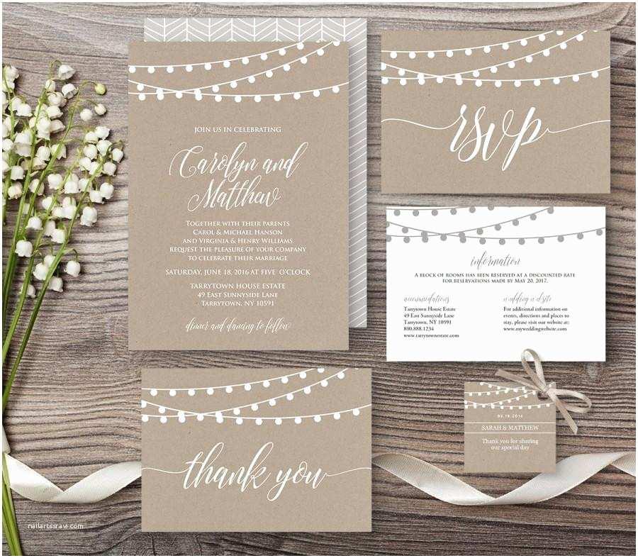 Light In the Box Wedding Invitations Kraft Wedding Invitation Template Rustic String Lights Mod