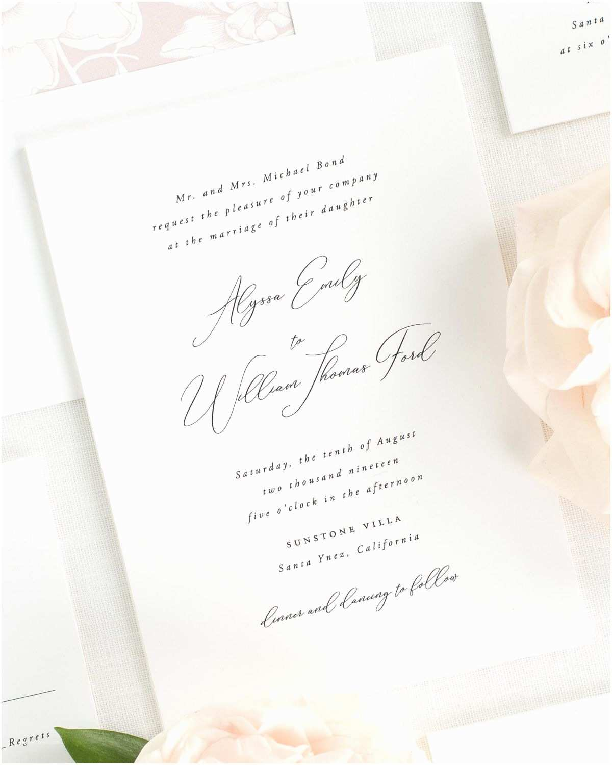 Light In the Box Wedding Invitations Light and Airy Wedding Invitations In Vintage Blush