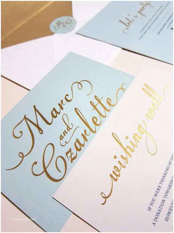 Light In the Box Wedding Invitations Light Blue with Gold Foil Wedding Invitation Deposit