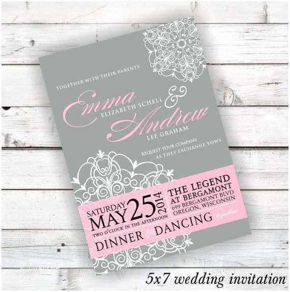 Light In the Box Wedding Invitations Light Pink and Grey Wedding Invitations with Printable