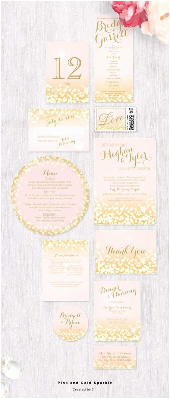 Light In the Box Wedding Invitations Pink and Gold Sparkle Light Effect Wedding Invitation