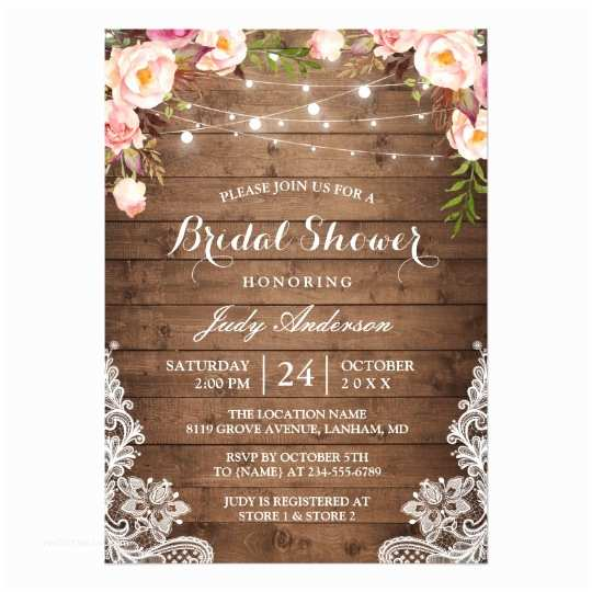 Light In the Box Wedding Invitations Rustic String Lights Lace Floral Bridal Shower Card