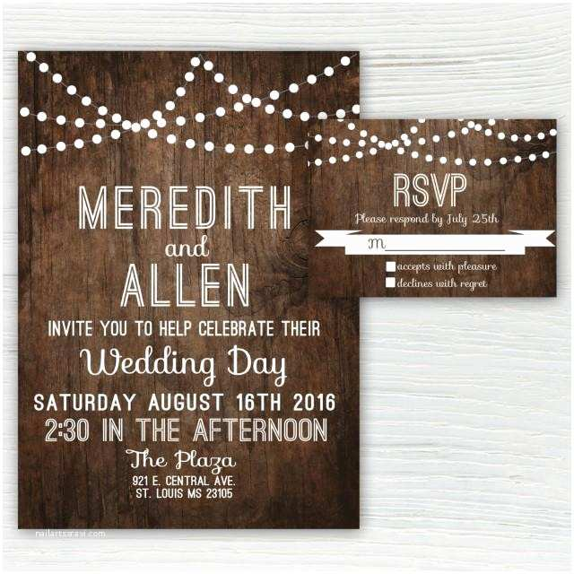 Light In the Box Wedding Invitations Rustic Wood Wedding Invitation Country Wedding Invitation