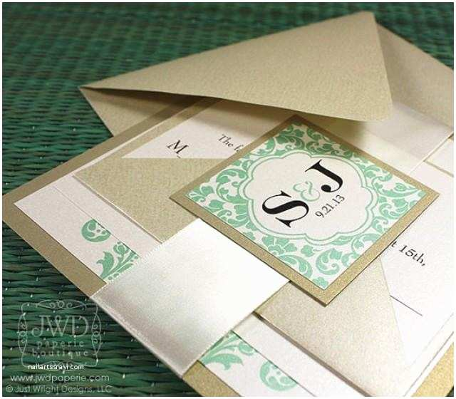 Light In the Box Wedding Invitations Wedding Invitation Modern Champagne Mint Green Light Gold