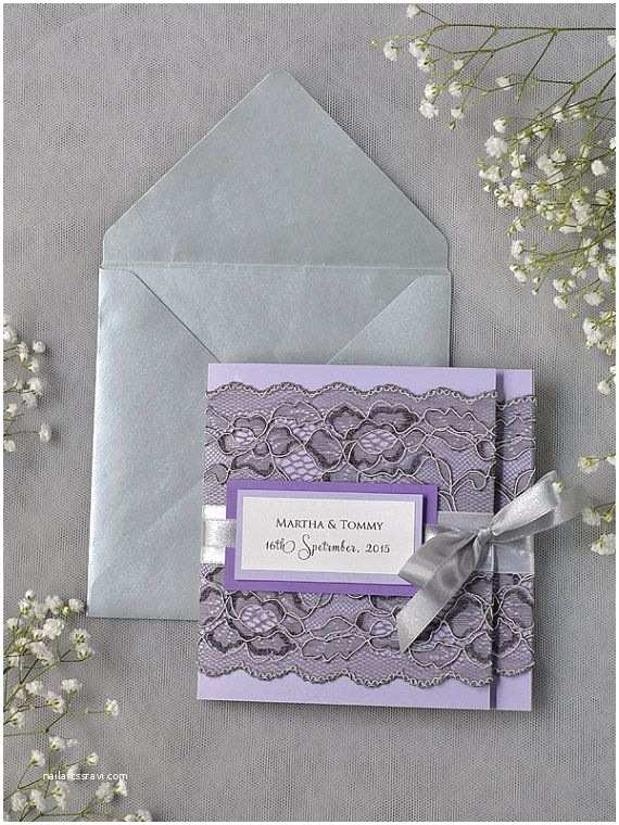 Lilac and Silver Wedding Invitations Grey Lace Wedding Invitation Pocket Fold Wedding by