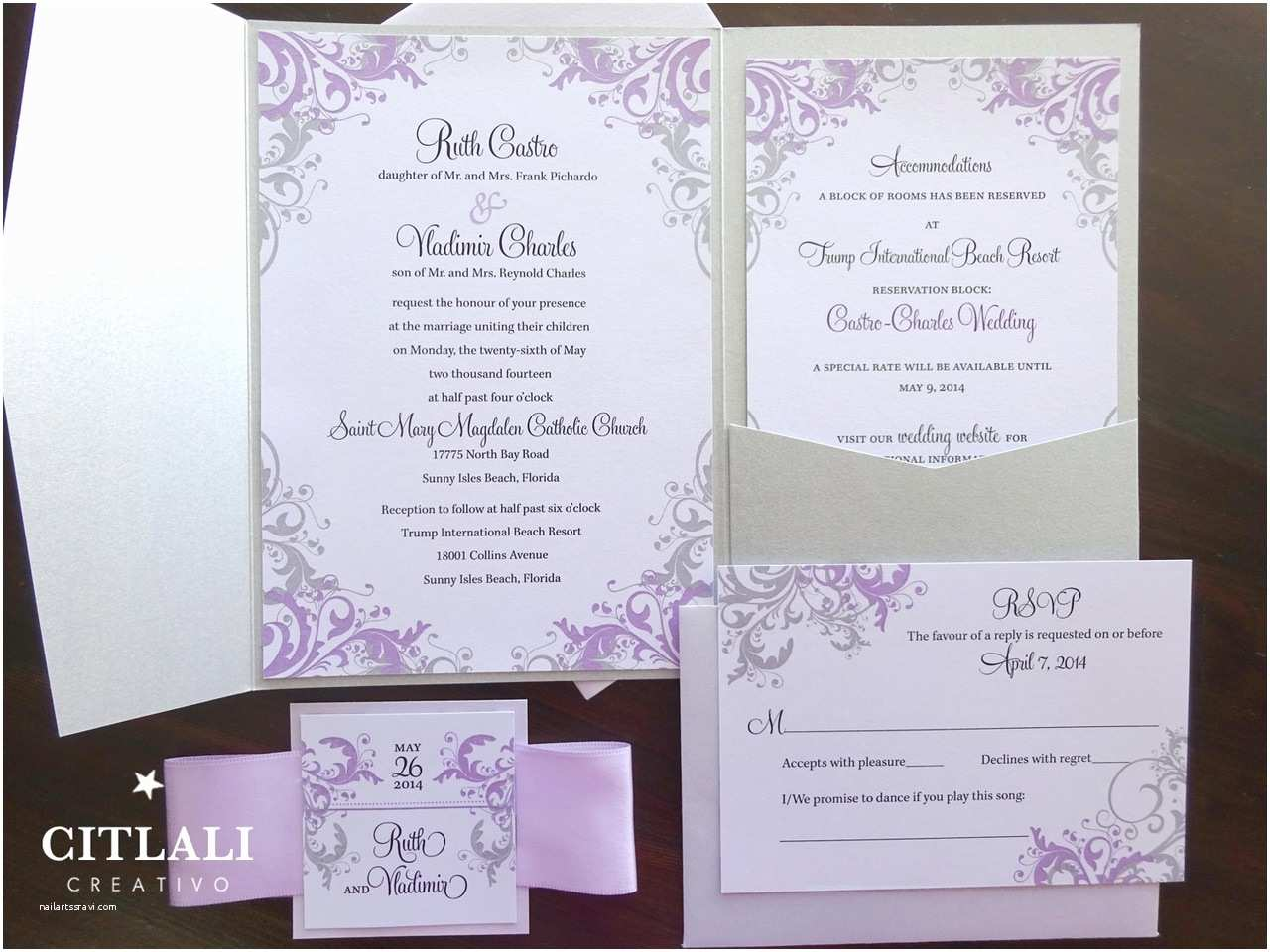 Lilac and Silver Wedding Invitations Lilac & Silver Filigree Pocket Folder Wedding Invitations