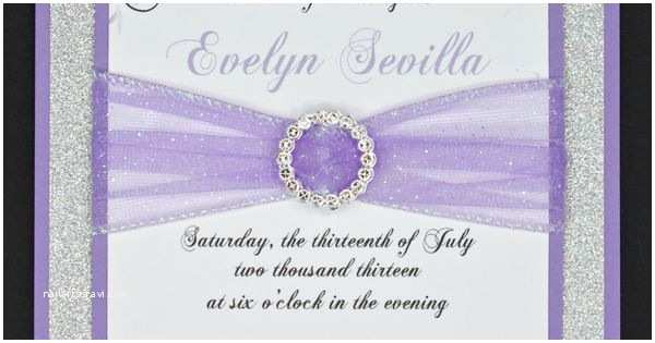 Lilac and Silver Wedding Invitations Lilac and Silver Glitter Quinceanera or Wedding Invitation