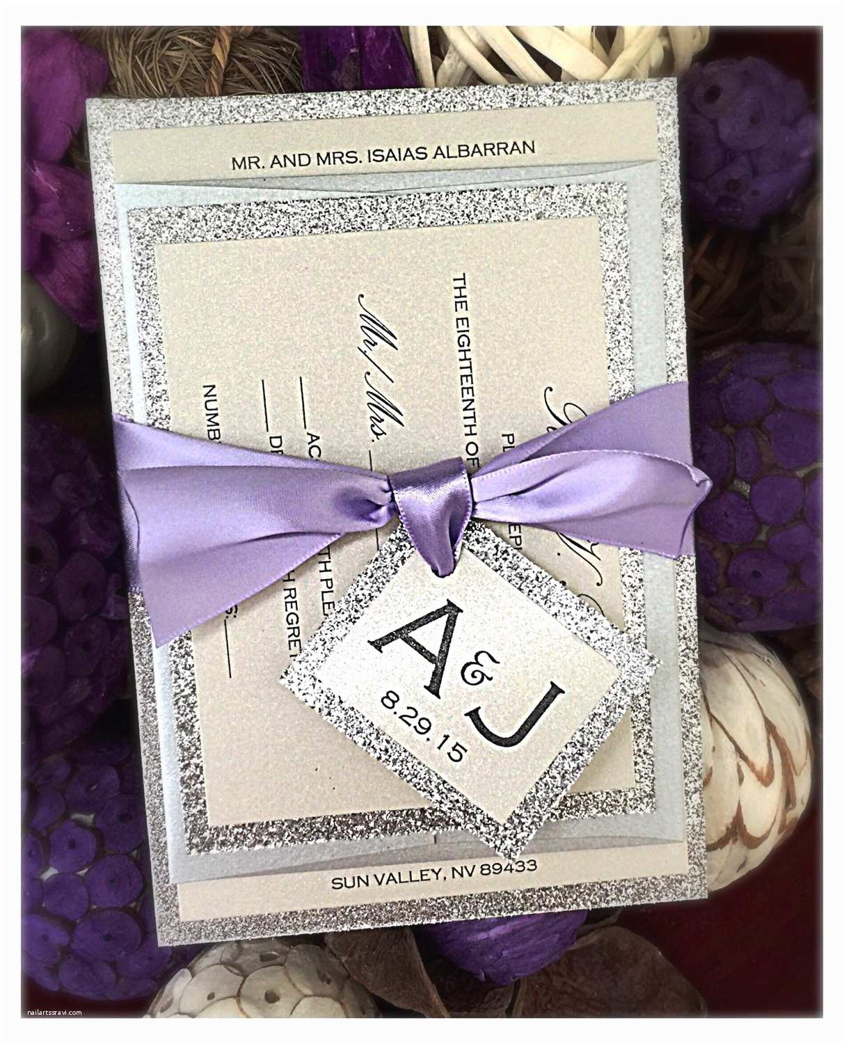 Lilac and Silver Wedding Invitations Plum and Silver Wedding Invitations Lilac Invitations