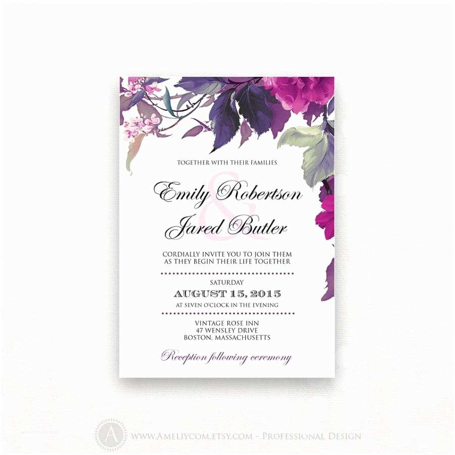 Lilac and Silver Wedding Invitations Printable Wedding Invitation Lilac & Purple Weddings